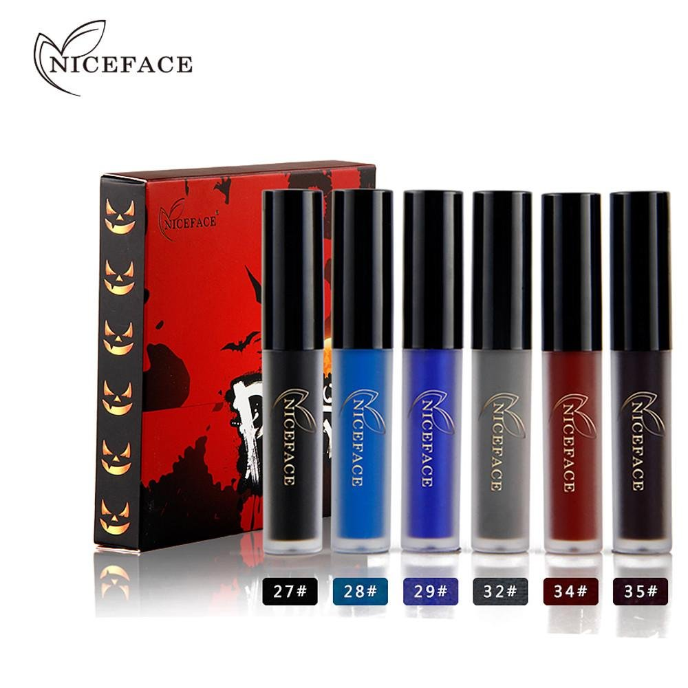 Lip Gloss Doinshop 6 Colors Halloween Style Matte Waterproof Liquid Lipstick Set (Multicolor #B)