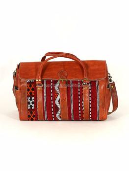 e4af30bf487 Lederen reistas, authentieke echt kalfslederen en Kelim tas met koperen  accessoires