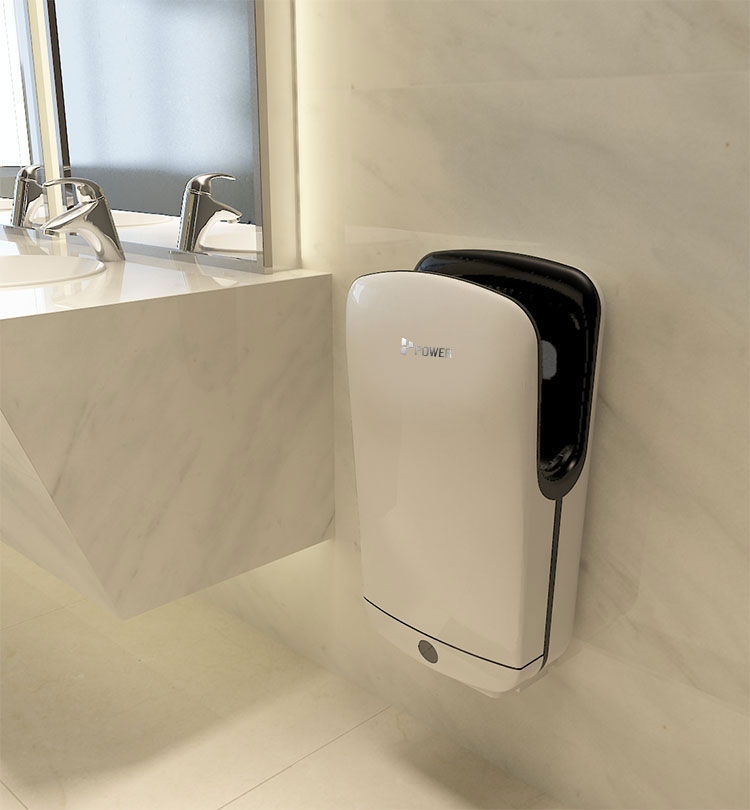Brushless motor free standing or wall mount high speed automatic hand dryer with both warm and cold air