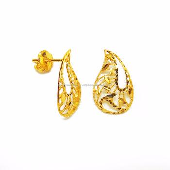 f522355880e71 Dubai Middle East Arabic Bridal Light Weight 18k 21k 22k Fine Yellow Gold  Earrings
