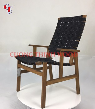Solid Wood Nordic Design Tor Easy Chair With Band Woven Seat And