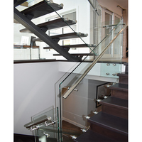 Strong carbon steel beams staircase design wood steel straight staircase