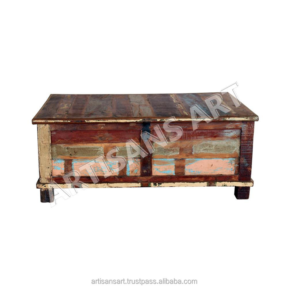 - Reclaimed Wood Trunk Box,Old Wood Storage Box,Recycle Wood Trunk