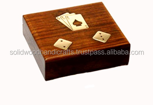 WOODEN PLAYING POKER SET /POKER SET WITH FIVE DICE WITH TWO CARDS/POKER DICE SHAKER