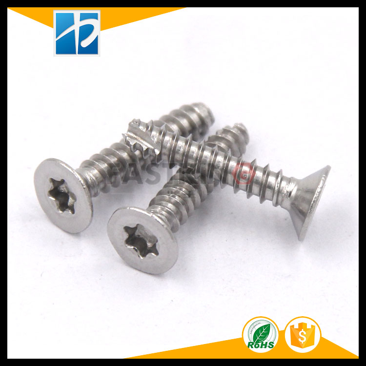 Stainless steel 304 countersunk head torx flat tail cutting tail self-tapping screw