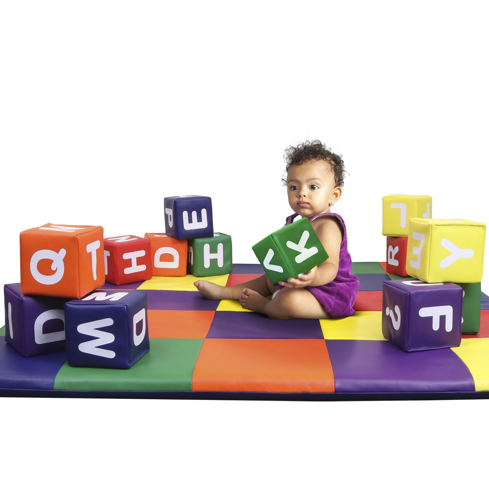 Dream Tree Building Blocks with Alphabet [Set of 12] Washable, Non-Toxic CPSIA Compliant Learning Toys Soft Foam Blocks for Toddler, Baby, Kids, and Preschool