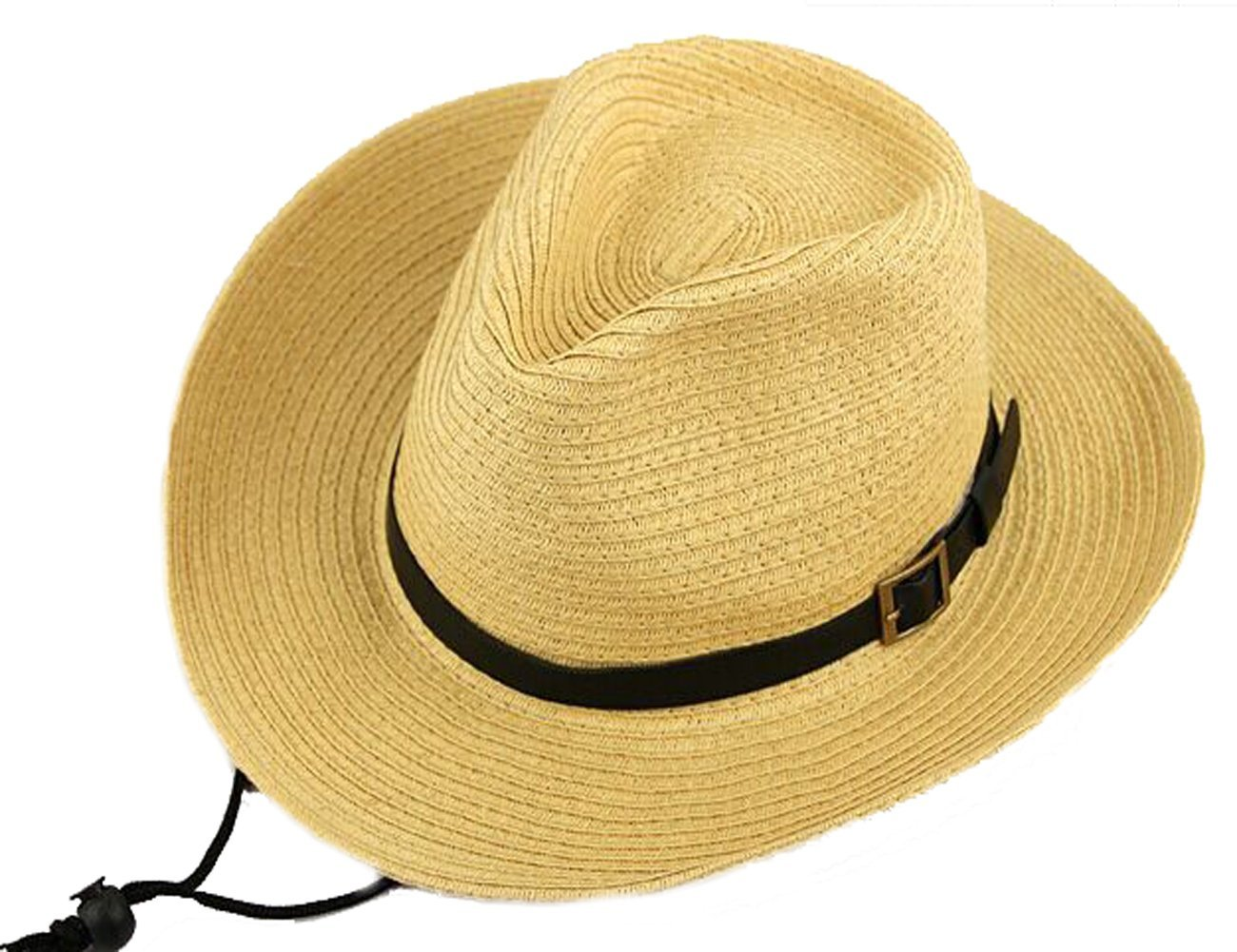 e0a3b79f Get Quotations · Men's Floppy Packable Straw Hat Beach Cap Classic Western  Newsboy Cap Fedora Hat UPF 50+