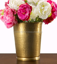 FLOWER VASE WITH BRASS FINISHING WITH HAMMERING