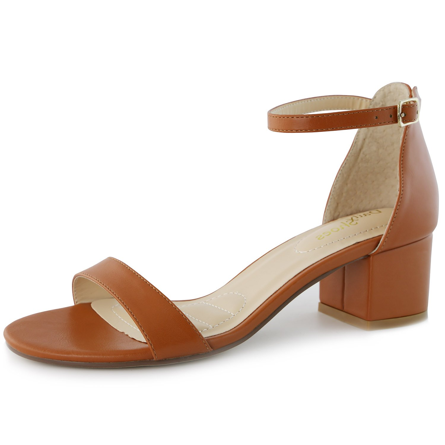 83f1b713bb5 Get Quotations · DailyShoes Women s Strappy High Heels with Chunky Heel - 2  inch Heel - Leather Counter Back