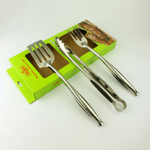 3 Stuk deluxe premium spatel vork tang <span class=keywords><strong>BBQ</strong></span> barbecue gereedschap set