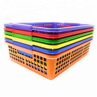 Hot Sale Pack of 6 Hard Plastic Classroom Colorful Storage Baskets with Handles Durable Stacking Organization Trays for Teachers