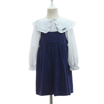 Perfect Girls Puritan Collar Shirt One-piece Cotton Frill Dresses for Baby