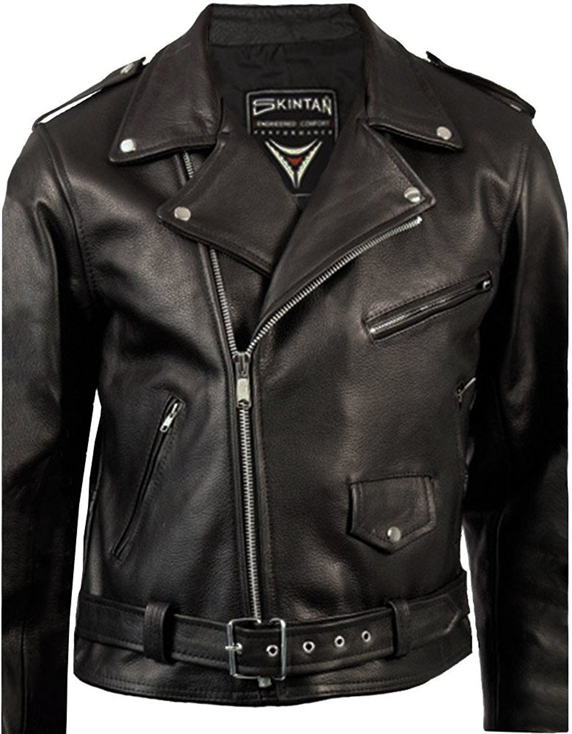 fa9dcf9ac43 Get Quotations · HWK Clasic Leather Brando Motorcycle Jacket Coat Motorbike  Jacket Biker Breathable 1 YEAR WARRANTY!