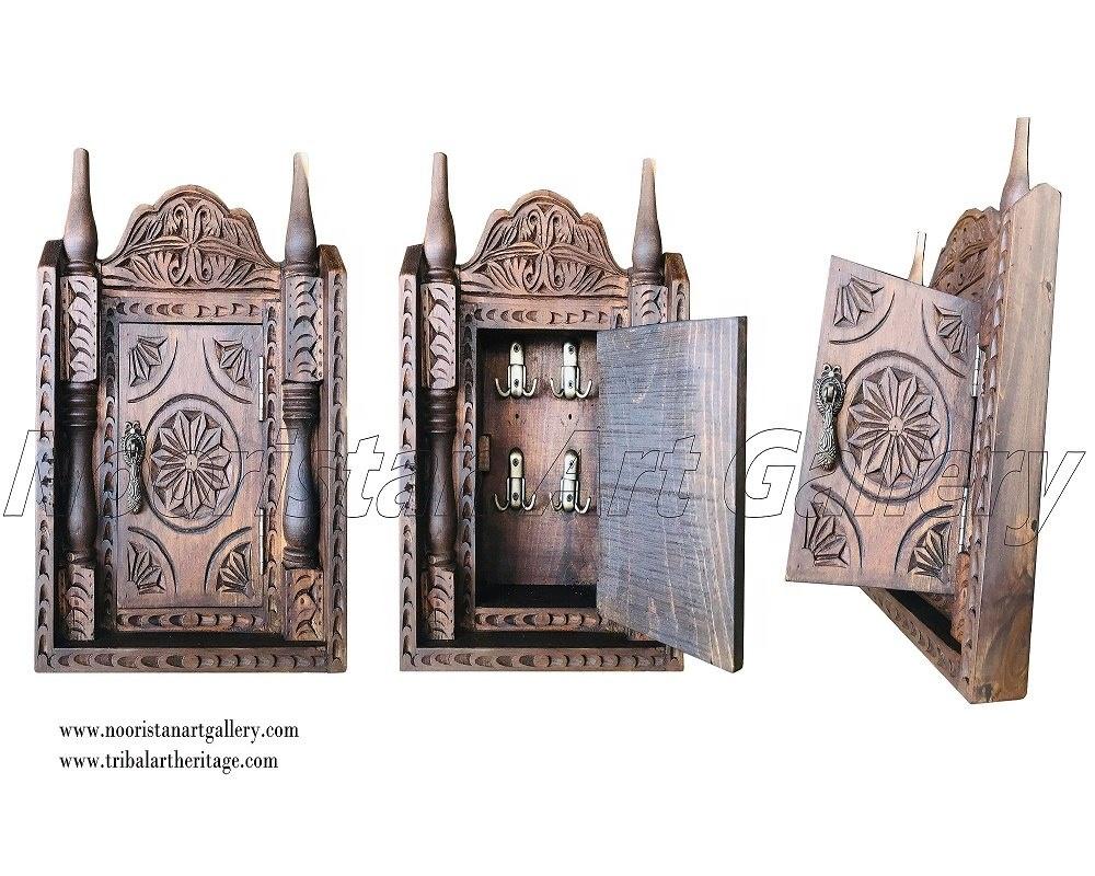 Antique Hand Carved Wooden Key Holder