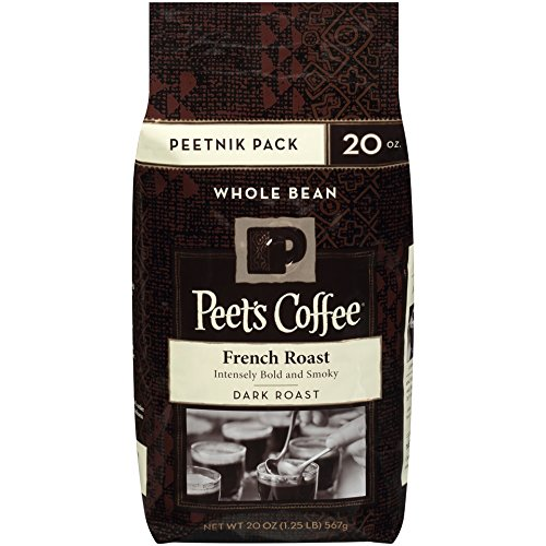 Peet's Coffee, Peetnik Pack, French Roast, Dark Roast, Whole Bean Coffee, 20 oz. Bag, Bold, Intense, & Complex Dark Roast Blend of Latin American Coffees, with A Smoky Flavor & Pleasant Bite