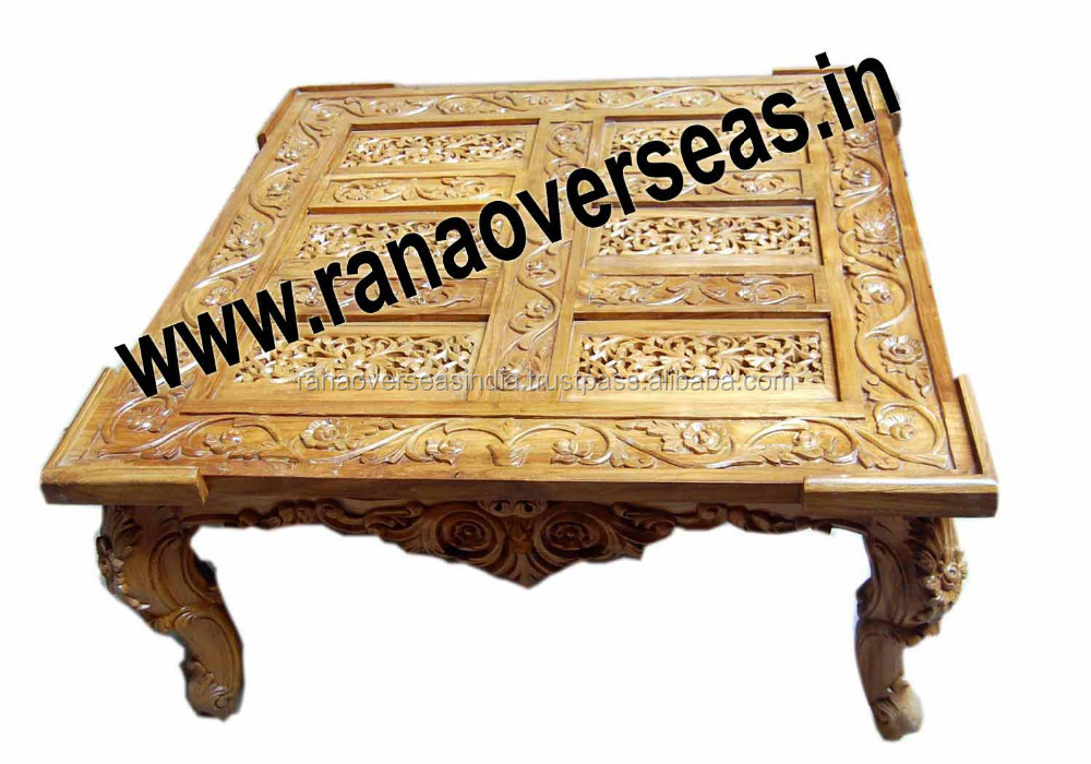 Wooden Hand Carved Centre Table Jali Cutting Work