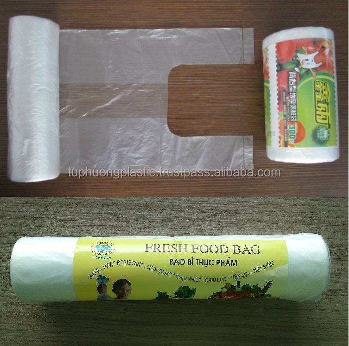 HDPE printed fruit bag on roll with paper band