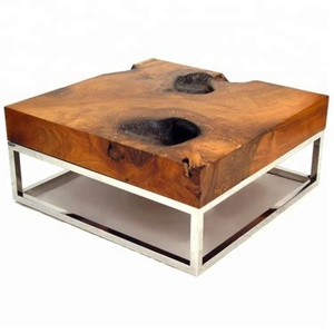 Industrial & vintage iron metal & natural live edge sleeper old wood square coffee table
