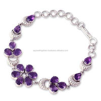 Handmade beautiful 92.5 sterling silver amethyst gemstone bracelet