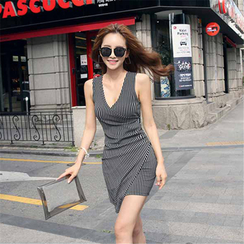 2019 Wholesale Women Fashion Sleeveless Office Wear Dress Ladies Short Dresses