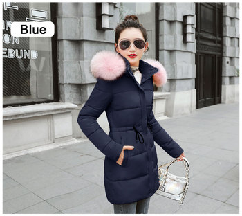 444cef816c591 Winter Jacket Women New 2018 Coats Artificial raccoon hair collar Female  Parka black Thick Cotton Padded