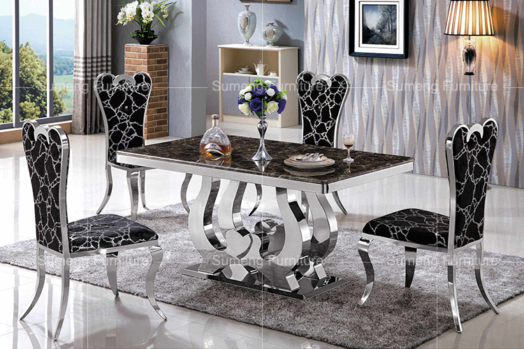 Ultime stile giapponese piano in marmo base in acciaio inox tavolo