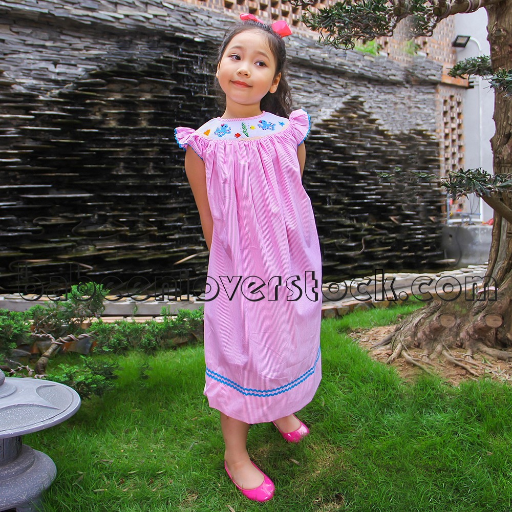 a43abbf71da8 Turn To Be Sweet Little Girl With Octopus Smocked Pink Dress For ...