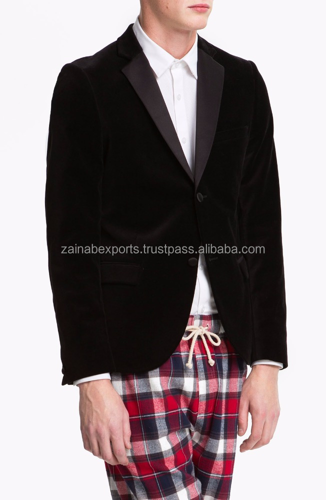 Latest Mens Stylish Slim Fit Blazer Fashion New Designs Velvet Blazer Jackets