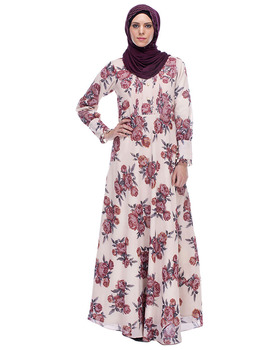 Dubai Abaya Wholesale Beige Colour Floral Print Maxi Dress Abaya Muslim Dress Islamic Clothing