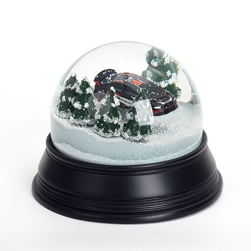 Metal Base Blowing Snow Electronic Music Christmas Snow Globe Luxury Brand Car Promotion Gifts 100mm Snowball Water Globe 2018
