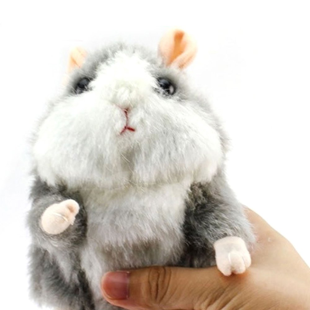 Electronic Mimicry Talking Hamster Toys - Soft Stuffed Pet Mouse Funny Plush Interactive Toy For Kids Toddler Adults Lovers, Speak It Out Game Voice Recorder Toy Best For Birthday, Xmas(Grey)