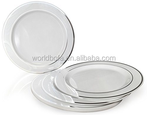 Heavyweight Plastic Elegant Disposable Silver Rimmed Plates for Wedding Party