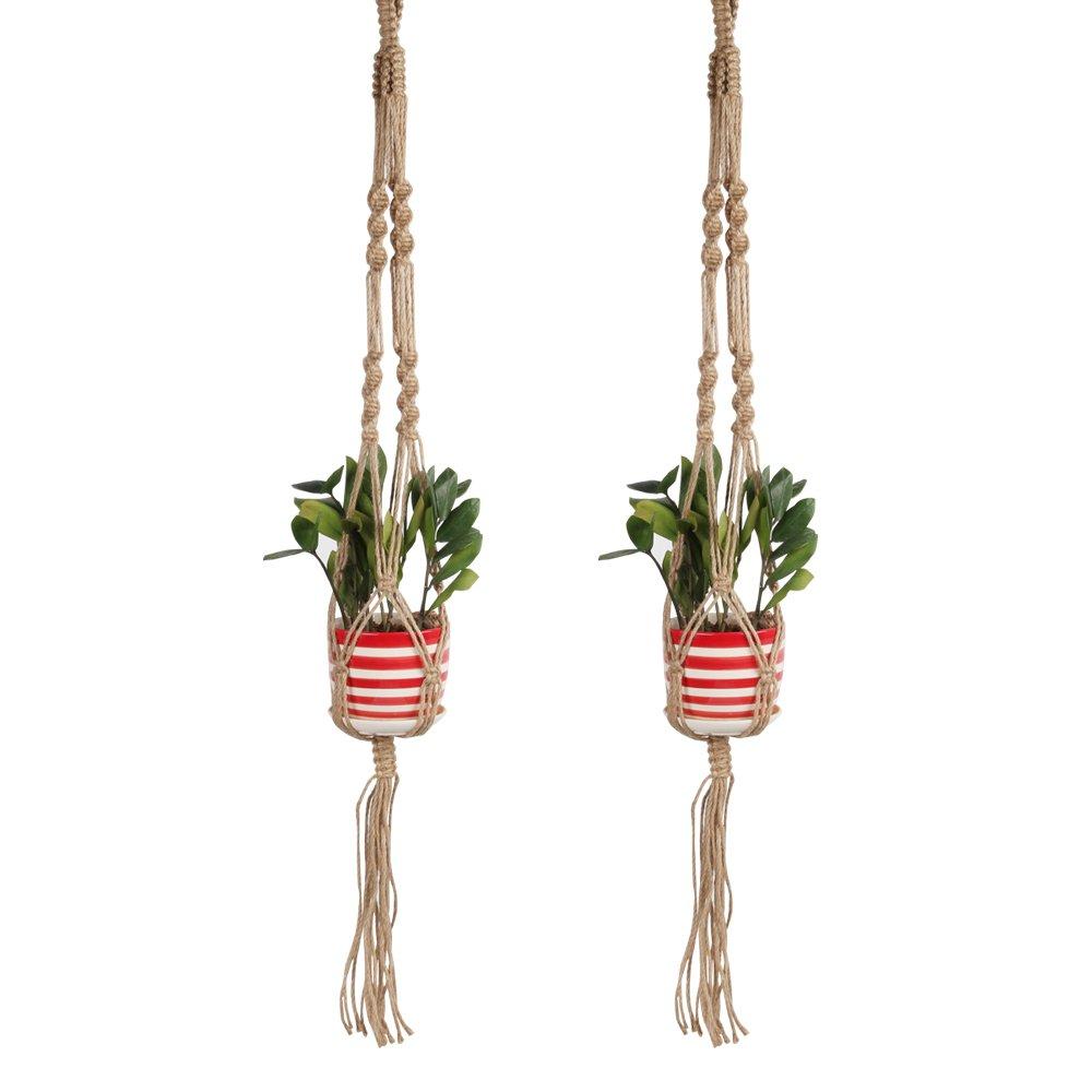STYDDI Macrame Plant Hanger Holder Set of 2, 41 inch Indoor Outdoor Flower Pot Hanging Basket Handmade Hemp Jute Rope, 4 Legs