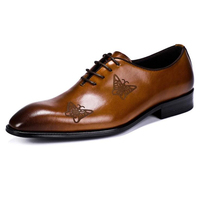 Luxury brand Men's handmade Calfskin Leather dress shoes Italian style male business wedding dress shoes