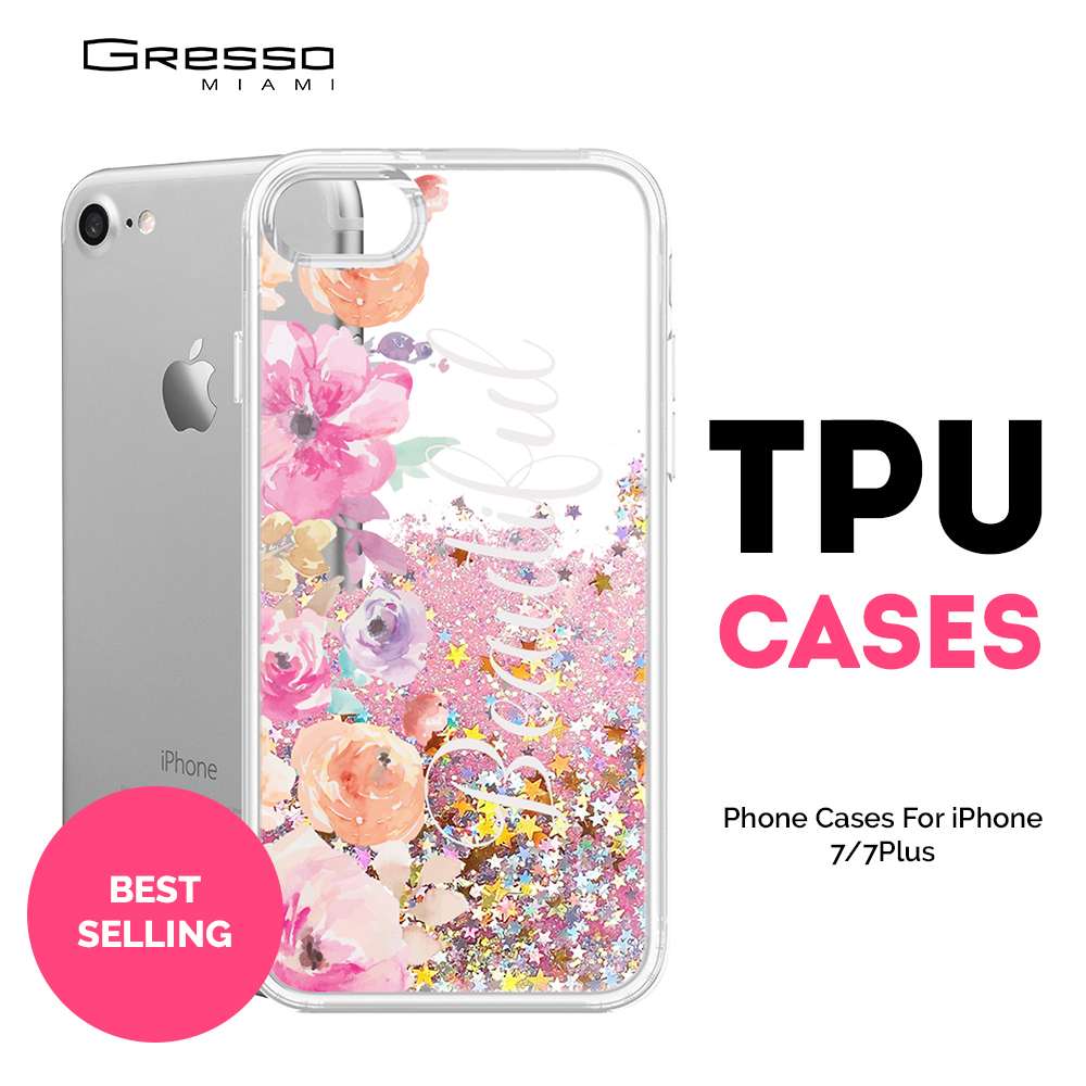 New Collection Transparent TPU Wallet Case for iPhone 8 7 6s 6 Plus with Flower Design Printing and Liquid Glitter Wholesale OEM