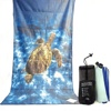 Custom Digital Photo Printed Quick Dry Mesh Pouch Suede Microfiber Sand Free Beach Towel