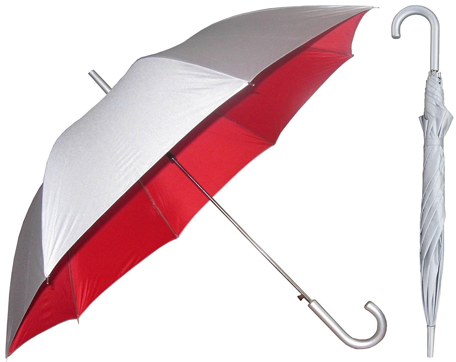 Silver Sunblock Umbrella with Red Lining - UV Protection Umbrella for Rain or Sun