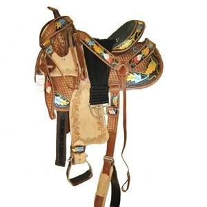 Western barrel saddle carved and 3 d colored