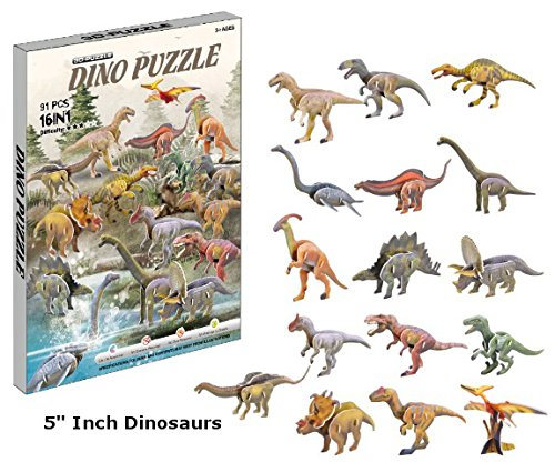 Top Race 3D Puzzle, Dinosaur Puzzle, No Glue, No Scissors, Easy to Assemble 16 Dinosaurs. (91 Pieces)