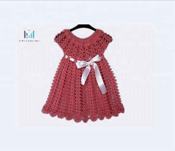 Baby Sommer Frock Häkeln Handgestrickte Fancy Rosa Dress Kleid 8wn0kOXP
