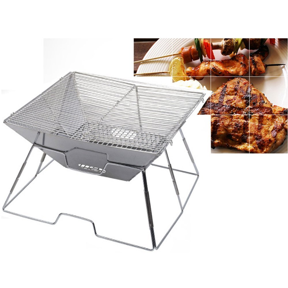 Picnics Emergency Preparation. Survival Backyards Wealers Compact Folding 12 Inch Charcoal BBQ Grill Made From Stainless Steel Portable and Great for Camping Backpacking