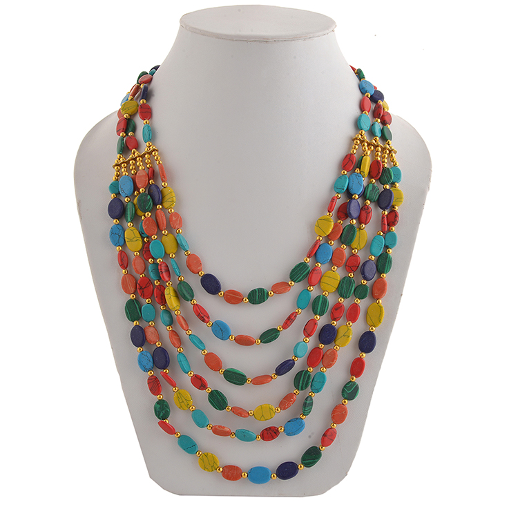 Sanskriti Zephyrr Fashion Junk Tibetan Handmade Beaded  Multi Strand Necklace