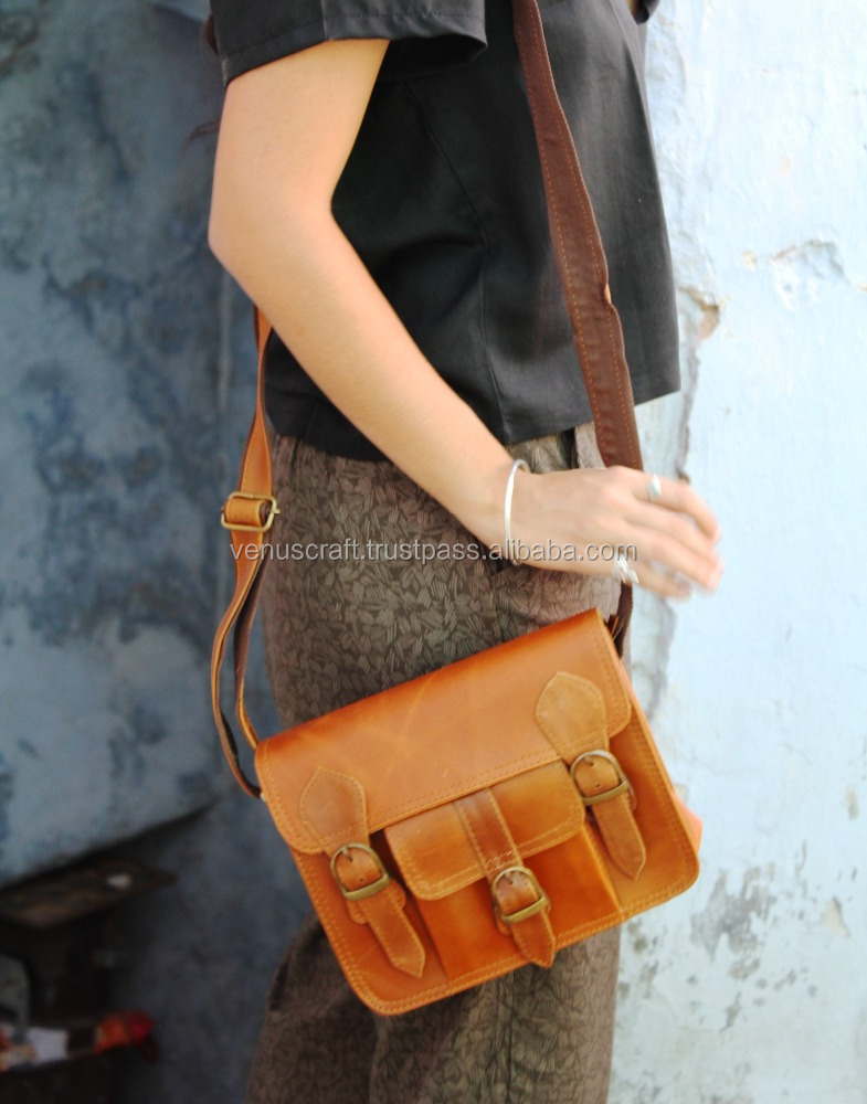 26c9a3d82 Real goat Leather Sling bag Indian handmade Men's sling bag wholesale