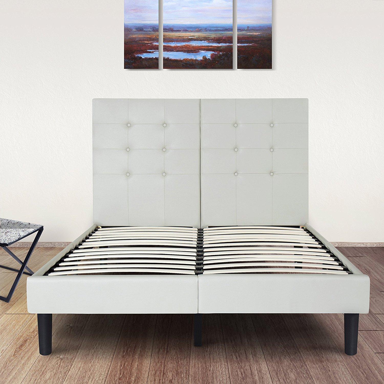 Olee Sleep 14 Inch Dura Metal Faux Leather Wood Slate Bed Frame Burton Queen 14PB03Q
