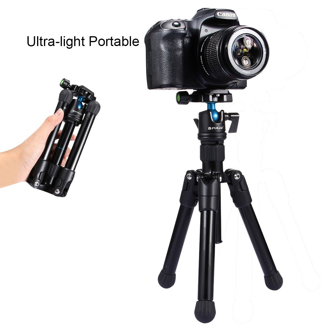 Microspur Tripod, PULUZ Professcial Universal Pocket Mini Portable Lightweight Magnesium Alloy Travel Tripod Mount with 360 Degree Ball Head for DSLR Camera & Camcorder, Height:24.5-57cm, Max Load:3kg