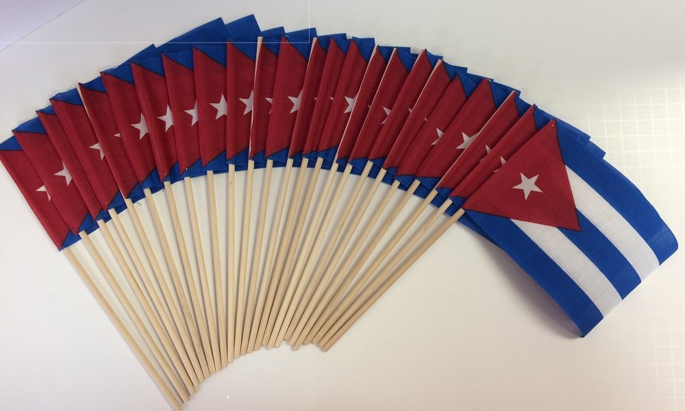 "Made in The USA!! Pack of 24 Cotton Cuba 4""x6"" Miniature Desk & Little Table Flags, 2 Dozen 4x6 Cuban Small Mini Stick Flags"