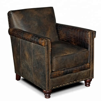 Vintage Leather Living Room Sofa Armchair Antique Lounge