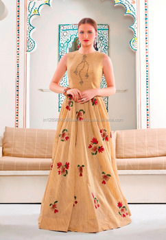 Latest Fashion Women Wear Designer Khakhi Color Art Bhagalpuri Silk One Piece Flair Gown