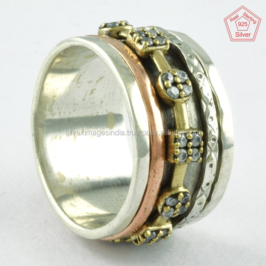 Triple Tone Cubic Zirconia Stone Handmade 925 Sterling Silver Spinner ring Jewellery Supplier India