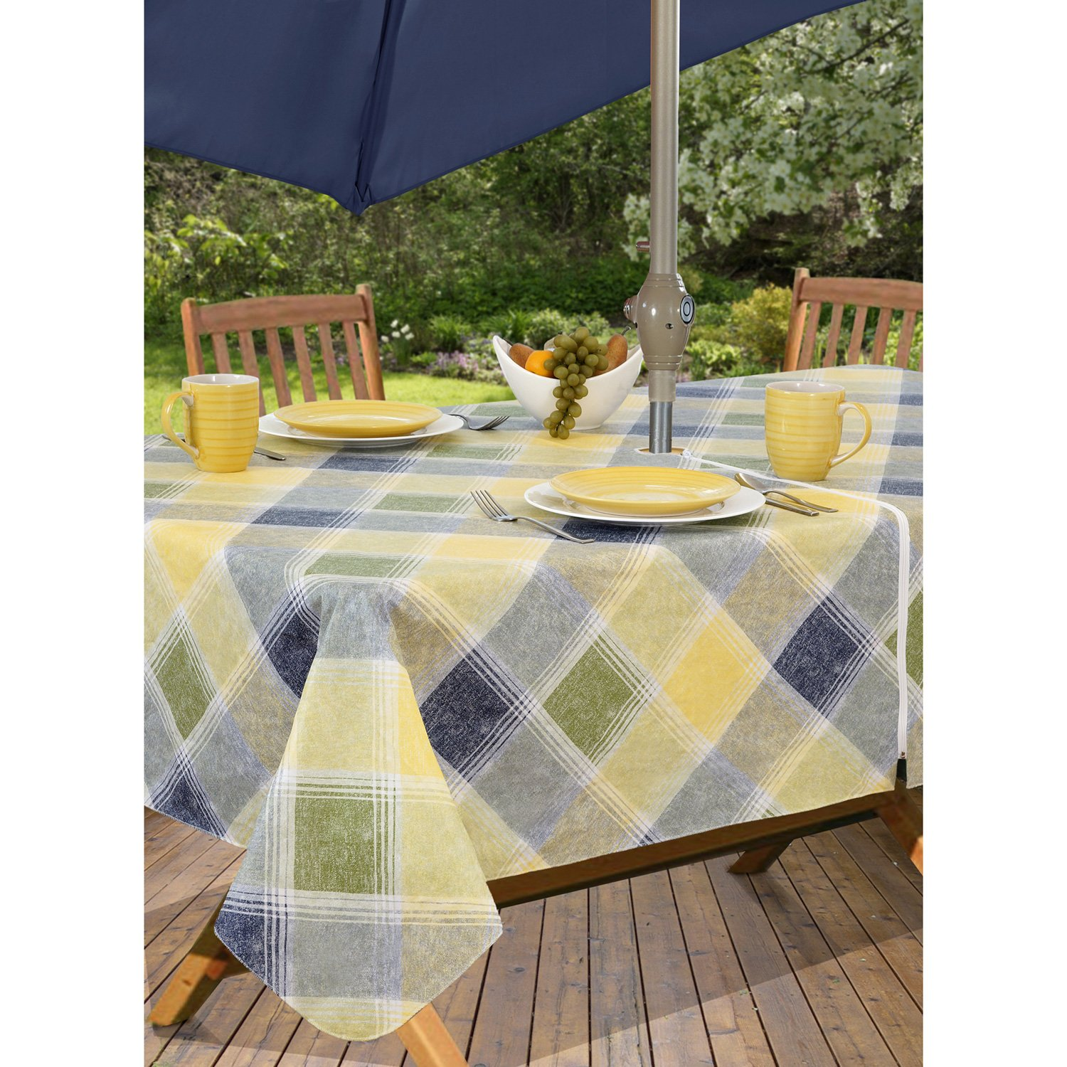Harmony Plaid Flannel Backed Indoor Outdoor Vinyl Table Linens, 60 Inch By  84